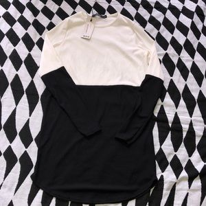 White and black color block dress